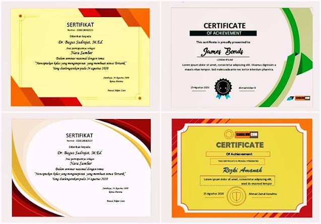 dowload desain sertifikat word kosong