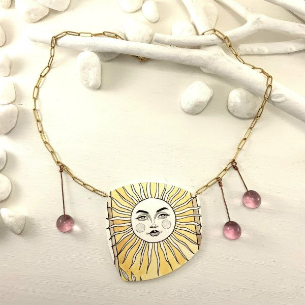 Hand-painted paper necklace with watercolor tarot card sun design and three glass beads on gold link chain