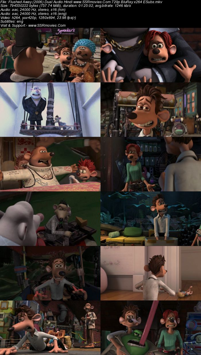 Flushed Away (2006) Dual Audio Hindi 720p BluRay x264 750MB ESubs Movie Download