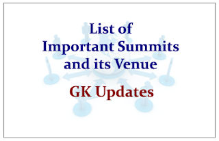List of Important Summits and its Venue- GK Updates