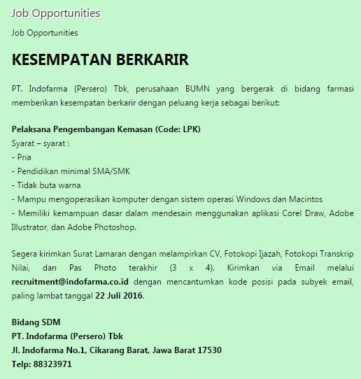 Karir PT.Indofarma (Persero) Tbk hingga 22 Juli 2016