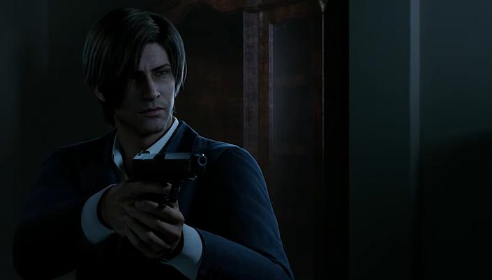 Animação 3D de um homem num lugar muito escuro, ele segura uma arma apontando para frente e usa terno azul e ele é branco e o cabelo dele é liso e castanho, a franja cai por cima dos olhos.