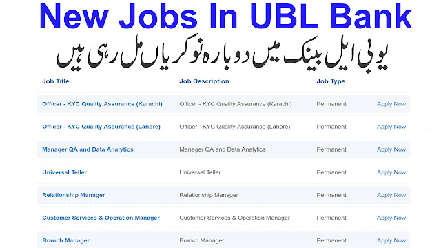 UBL Bank Jobs 2019 | Apply Online | Latest New Vacancies