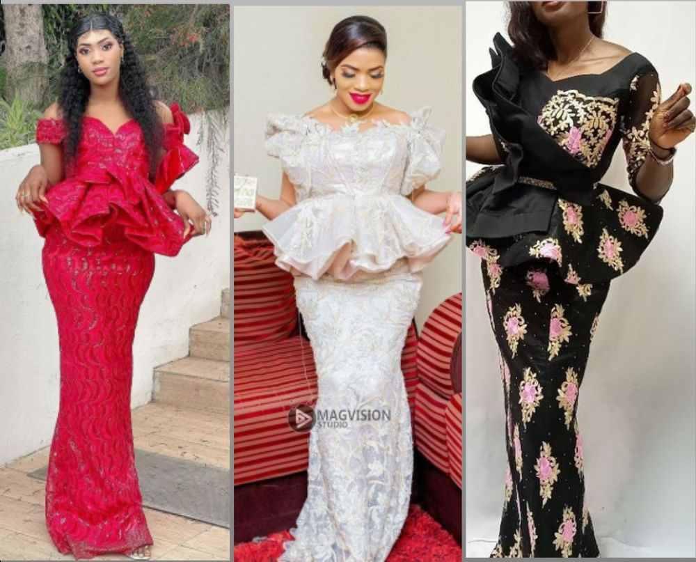 Peplum lace styles for Aso ebi