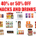 40 to 50% off Snacks!! Kind Bars, Quaker Granola bars, Vita Coconut Water, Starbucks Drinks, Oatmeal, Twizzlers, Blue Diamond, Pirate's Booty, Tropicana Juices, Chips and Much More. You get 35% off with Prime Day Deal + Extra 5% or 15% With Subscribe & Save. Tons of Awesome deals!! Amazon Prime Member Deals