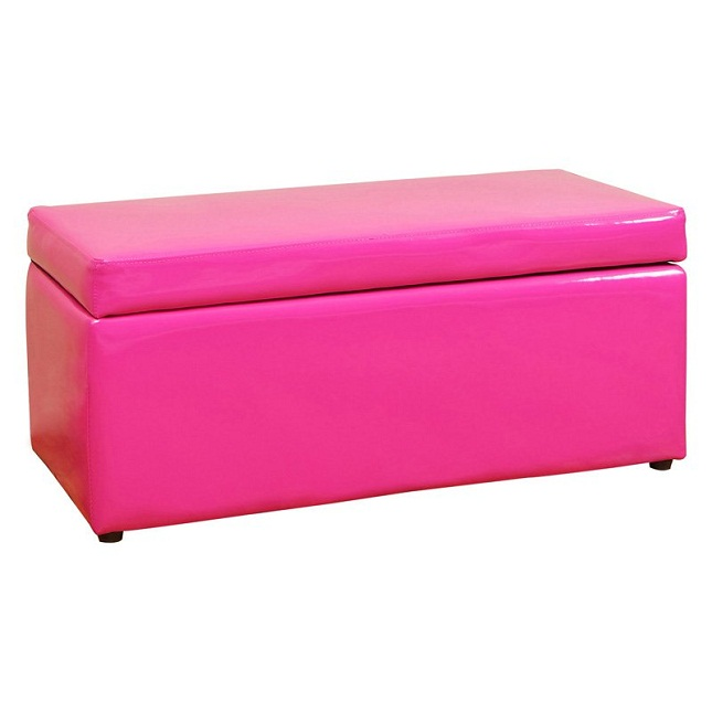 beautiful pink storage ottoman bench
