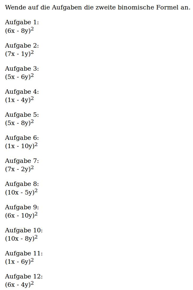 Mathe ist einfach: Arbeitsblatt 2. Binomische Formel