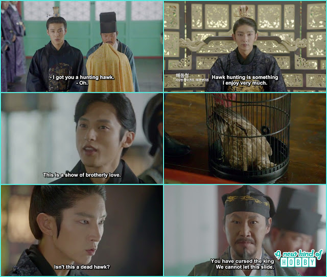 wook bring a hawk for king wang so and when saw the hwak was dead- Moon Lovers Scarlet Heart Ryeo - Episode 19