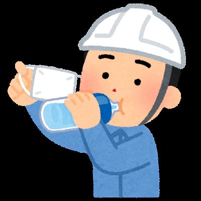 マスクをめくって水分補給をする作業員のイラスト(男性)