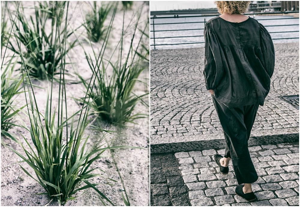 Ewa i Walla, Visualaddict, valokuvaaja, Frida Steiner, vaatteet, muoti, naistenmuoti, fashion, kietaisuhousut, haaremihousut, musta paita, nappipaita, puuvilla