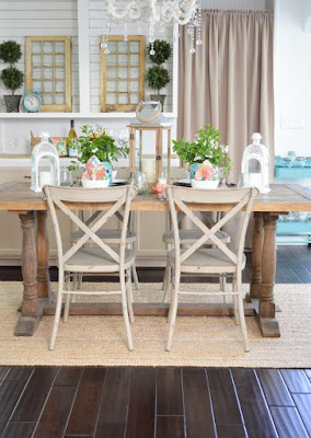 Wooden farmhouse dining room furniture idea