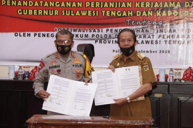 Gubernur dan Kapolda Sulteng Tanda Tangani Perjanjian Kerjasama Untuk Optimalkan Pencegahan Korupsi