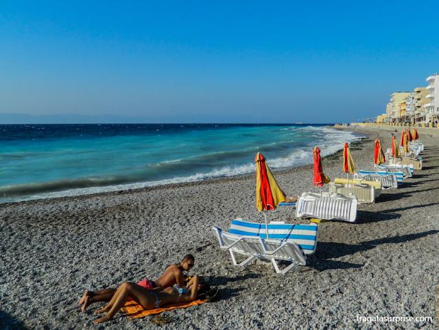 Praia de Psarpoula, Ilha de Rodes, Grécia