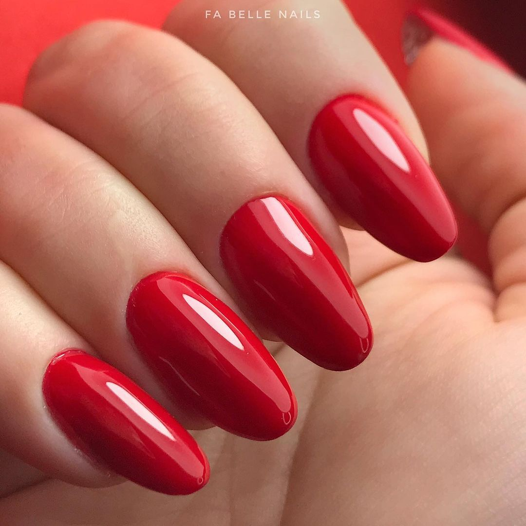 red nails, valentines day nails 2021
