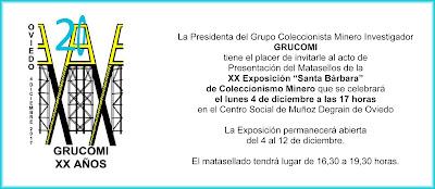 Invitación a la exposición de coleccionismo minero de Grucomi