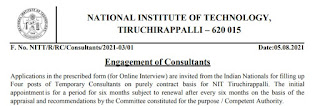 NIT Trichy Recruitment 2021 04 Consultant Posts