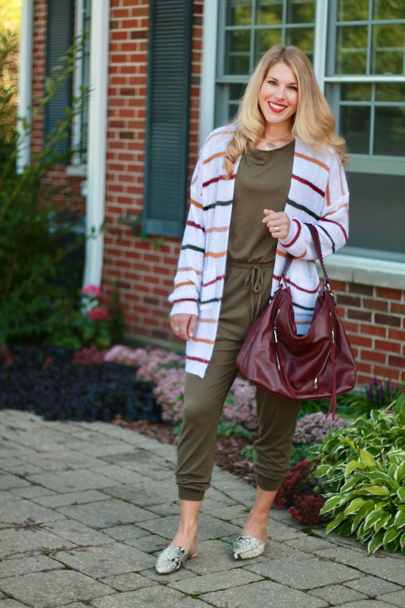 olive jumpsuit, striped cardigan, snakeskin mules, burgundy bag