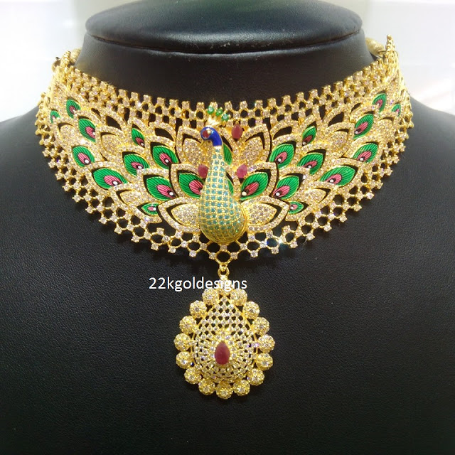 peacock choker necklace