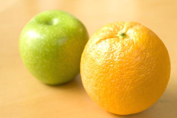 an apple and an orange
