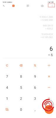 1. Silakan kalian buka aplikasi Kalkulator lalu pilih menu Pilihan