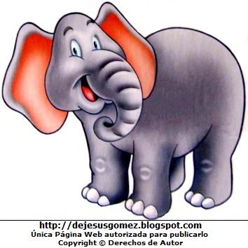 Dibujo de elefante a color para niños por Jesus Gómez