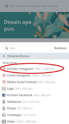 Pilih kiriman instagram 1080 x 1080 piks