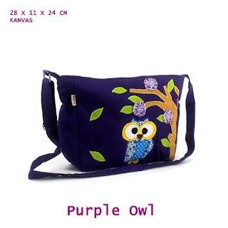 tas selempang anak, grosir tas anak, tas aplikasi kain perca, tas owl