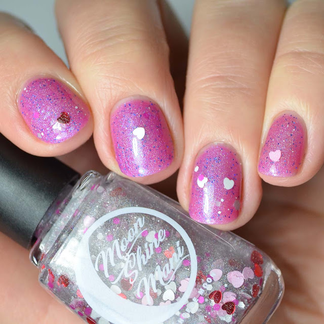 heart glitter nail polish swatch
