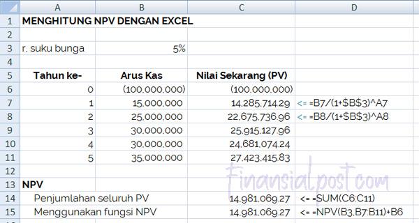Menghitung NPV dengan Excel