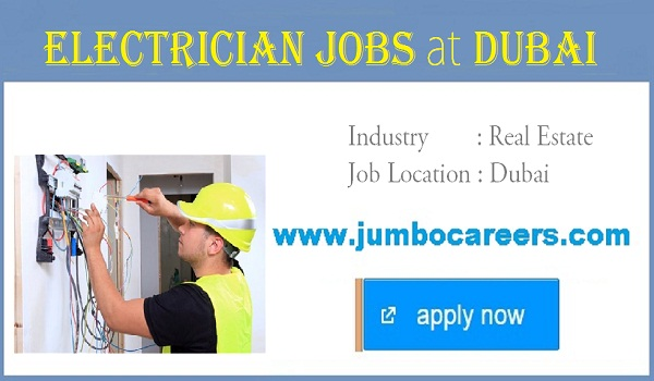 available electrician jobs in Dubai, Recent jobs opportunities in UAE,