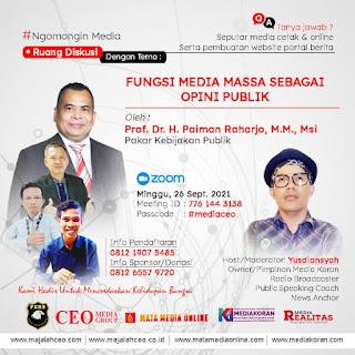 Prof.DR.H.Paiman Raharjo,MM,MSi Jadi Pembicara Utama Webinar Media CEO Group