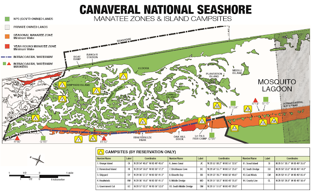 Canaveral National Seashore Playalinda Beach Manatee Zones and Camping Areas