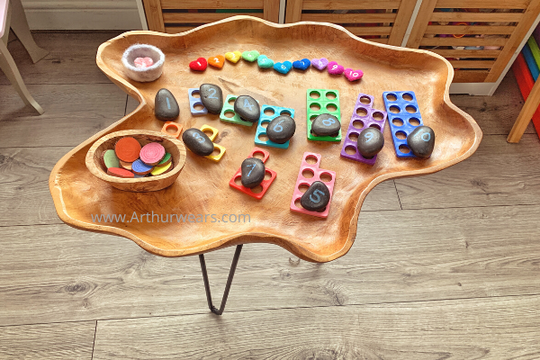 number activity natural wooden tuff tray with needle felted hearts