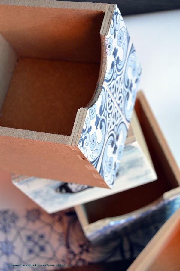Cajones decorados con papel pintado