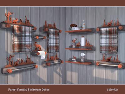 Forest Fantasy Bathroom Decor Декор ванной комнаты Лес фэнтези для The Sims 4 Набор декоративных резных предметов для ванной комнаты. Имеет 16 предметов, 3 цветовых вариации. Предметы в наборе: - шесть вешалок для полотенец - два держателя для туалетной бумаги - Держатель бумажных полотенец - подставка для мыла - Салфетница - ванные принадлежности - зубные щетки - полотенца - две функциональные полки. Автор: soloriya