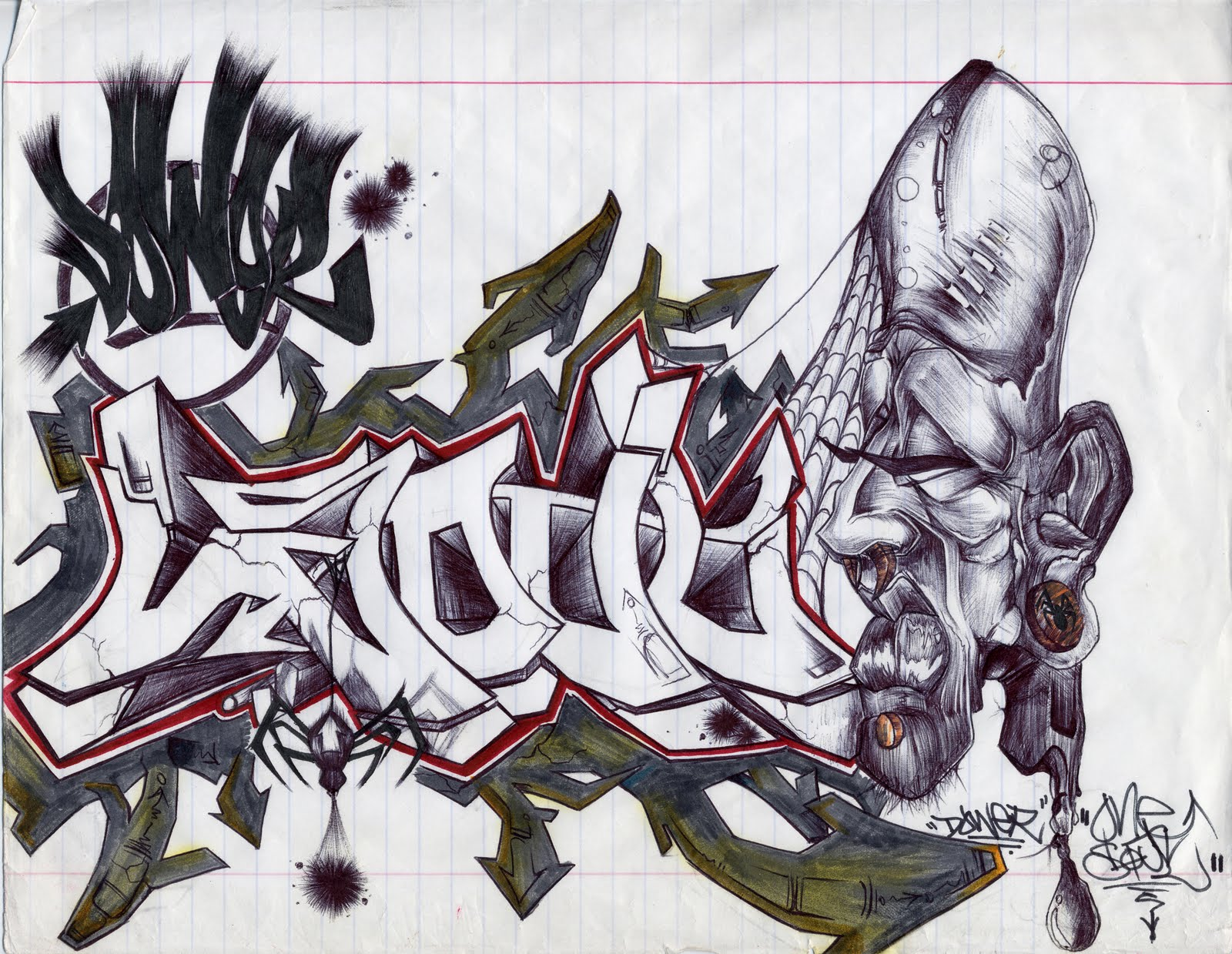 12 Graffiti Drawings in Paper (example) || Graffiti Tutorial