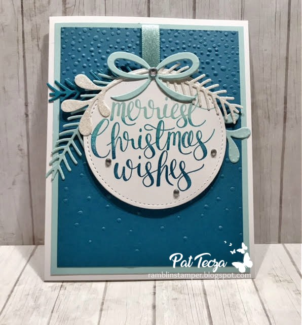 this is my idea of a blue christmas my whisper white card base is layered with pool party and dapper denim the embossed background was done with the - I Ll Have A Blue Christmas