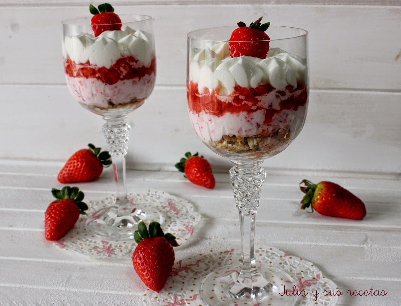 Trifle de fresas y crème fraîche. Julia y sus recetas