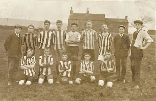 William Hodgson (back, second from left), Joe Deeley (with ball), Tom Mayoh back row, (3rd from left, became special constable patrolling Egerton).   Goal keeper Frank Meredith (later of Meredith Bros. Coal Merchants)