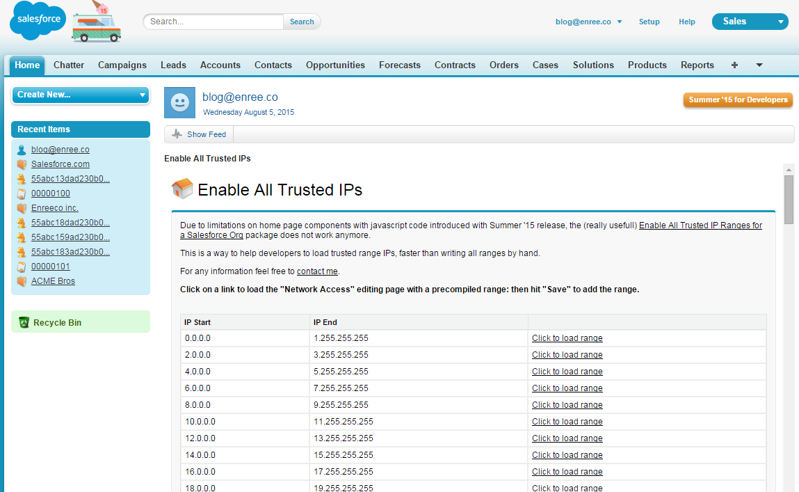Salesforce / Revamp] Enable All Trusted IP Ranges for a