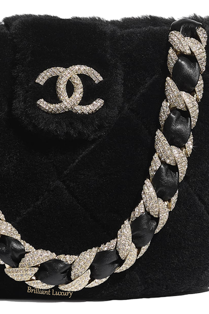 Black Chanel strass shearling bucket bag #brilliantluxury