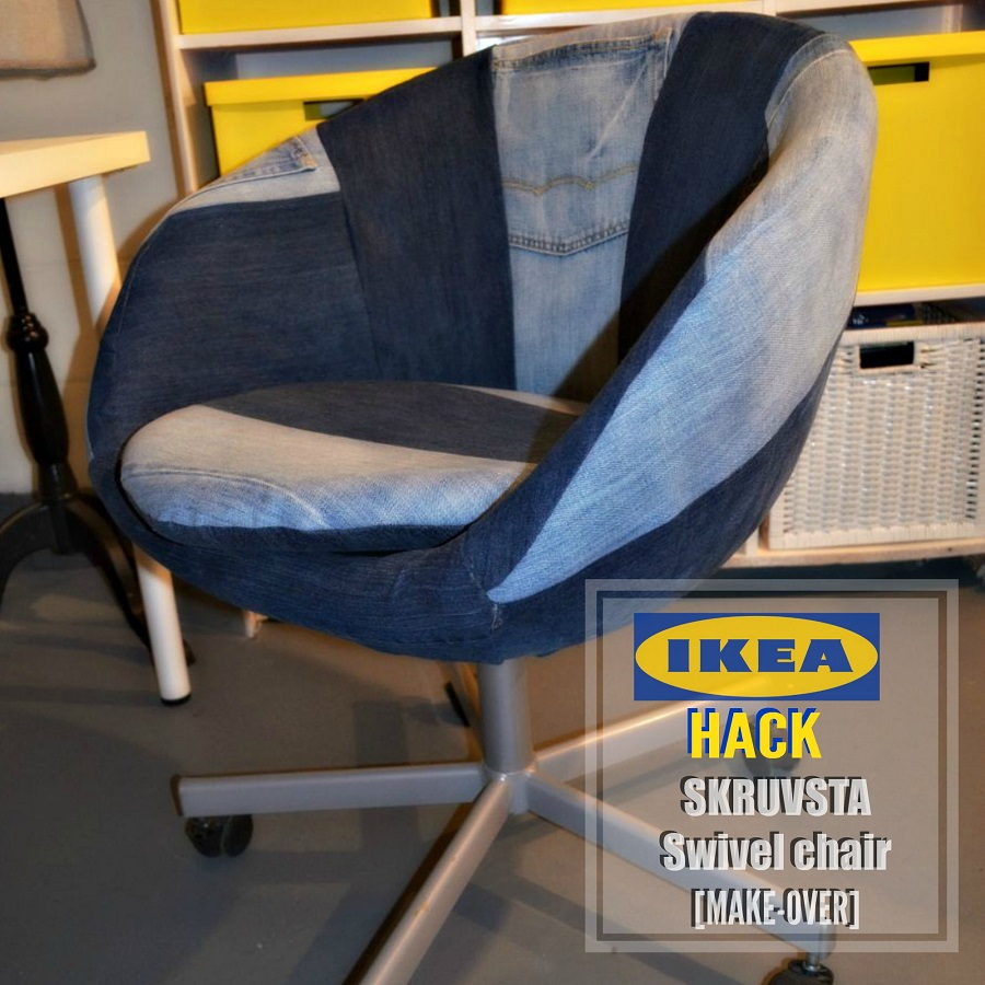 skruvsta swivel chair chaise lounge outdoor cushions diy ikea hack on the done denim style that
