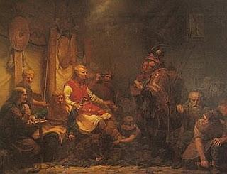 Los hijos de Ragnar Lodbrok recibiendo a un emisario del rey Aelle