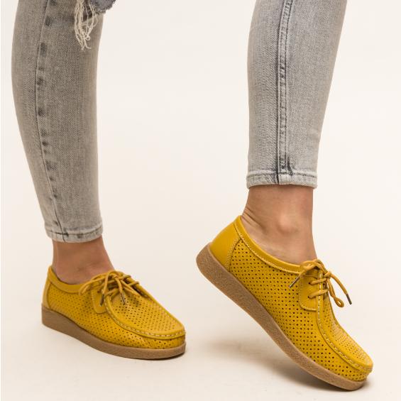 Pantofi casual galbeni de femei din piele naturala cu perforatii de vara