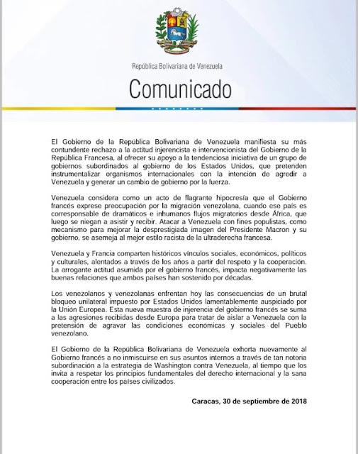 Maduro acusó a Francia de promover un cambio de gobierno en Venezuela por acudir a la CPI