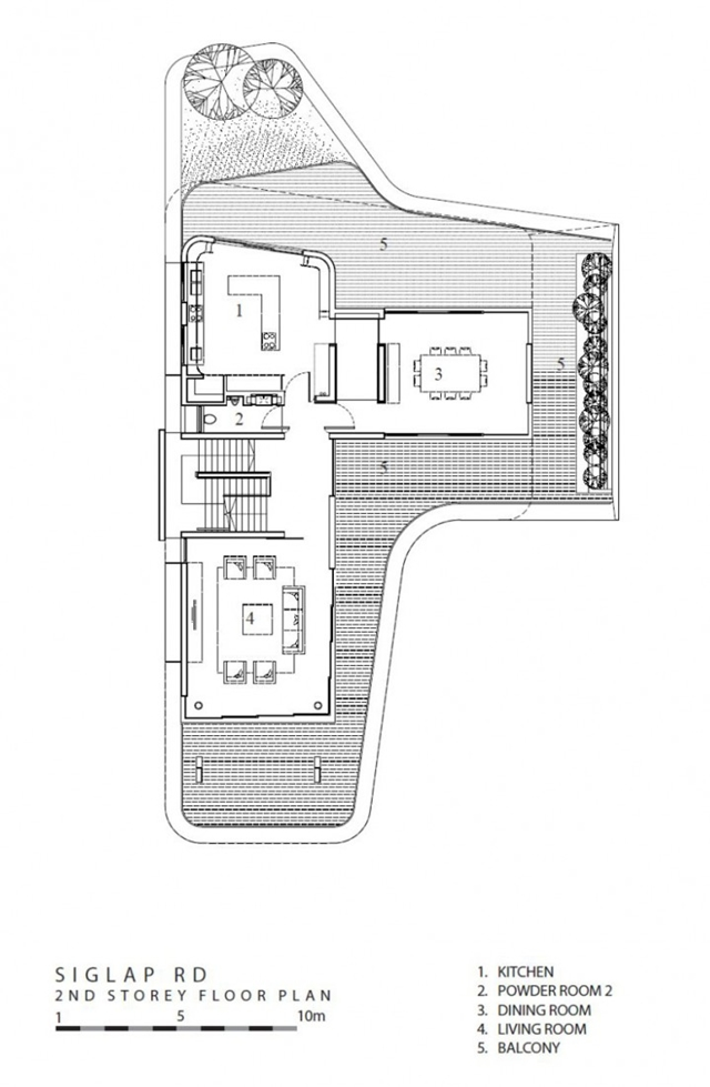 Second floor plan in the modern mansion