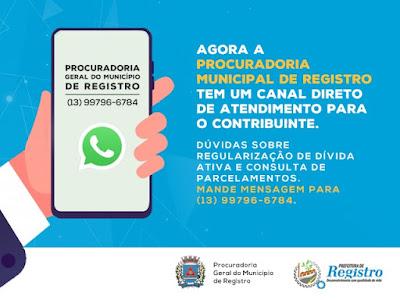 Procuradoria Geral do Município de Registro-SP agora atende pelo WhatsApp