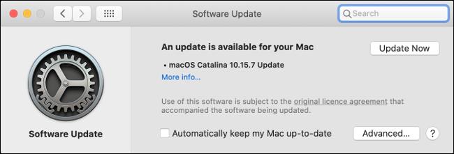 تثبيت التحديثات في macOS Catalina