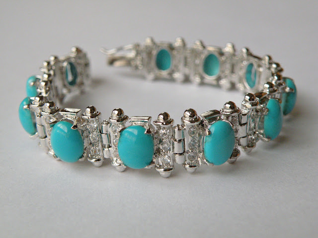 Silver turquoise and zircon bracelet