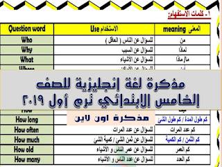 مذكرة لغة انجليزية للصف الخامس الابتدائي ترم أول 2020 time for English